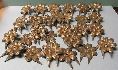 26 Brass Or Bronze Vintage Victorian Hardware Flowers For Upholstery