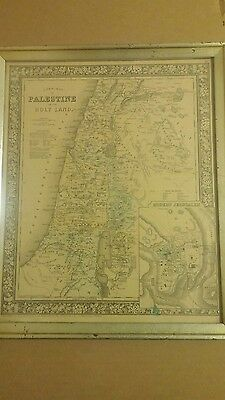 "Mitchell's Antique ~ ""A New Map of Palestine or The Holy Land""  ~1864~ Jerusalem"