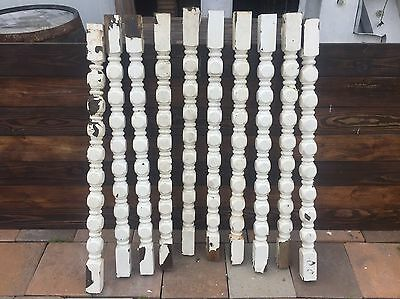 Lot Of 10 Salvaged Wooden Spindles With Chippy White Paint
