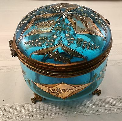 Large Antique Bohemian Moser Blue Glass Hand Painted Enamel Jewelry Box Casket