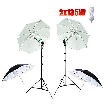 Photography Studio Continuous Umbrella Photo Lighting Adjustable Light Stand Kit