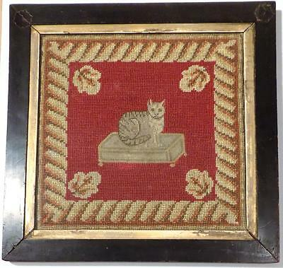 Antique 19th Century CAT WOOLWORK SAMPLER PICTURE, Petit Point & Needlepoint