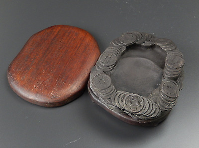 Chinese OLD INK STONE [ Old Coins ] / W 11.5× D 15× H3.5 [ cm ]