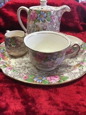 Vintage James Kent Breakfast Gold Chintz Balmoral 5 P. Set As New