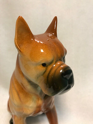 Vintage 50s 60s Fawn Boxer Dog Ceramic Figurine Wales Japan