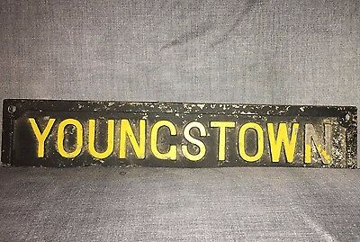 "Antique Cast Iron Youngstown Ohio Sign Yellow Black 13"" x 2-1/2"" Placard Vintage"
