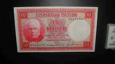ICELAND 1928 10 KRONUR  BANKNOTE ***Condition -XF*7733