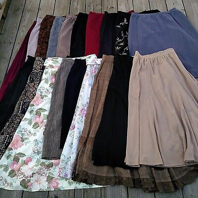 Bundle of 19 Vintage VTG Maxi Skirts (Bohemian, Peasant, Long Hippie Skirt Lot)