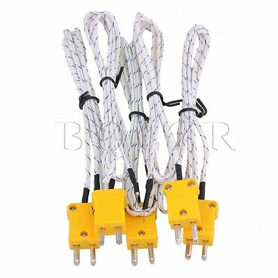 100cm K Type Thermocouple Cable Set of 5 White