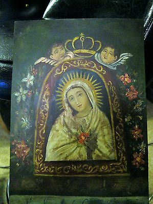 Excellent Original Retablo On Tin With Image Of Our Lady Of The Cave Great Shape