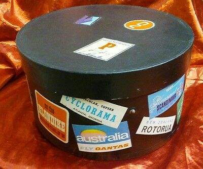 "OVAL VINTAGE HAT BOX TRAVEL STICKERS 15"" x 13"" x 9"""