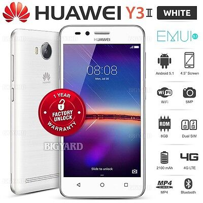 """New Unlocked HUAWEI Y3ii 2 White 4.5"""" Dual SIM 4G LTE Android Mobile Phone"""