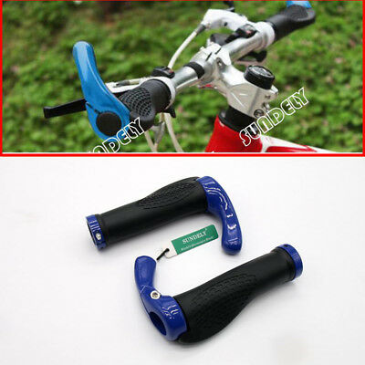 Blue Mountain Bike Handle Bar Grips Double Lock On MTB BMX Bicycle + Ends