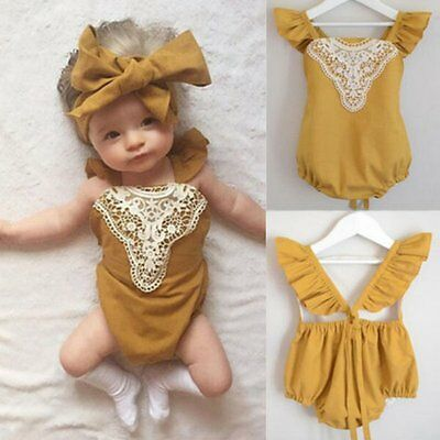 0-24M Infant Baby Kids Romper Bodysuit Toddler Girl Yellow Lace Jumpsuit Outfits