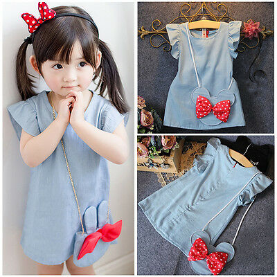 Baby Kids Girl Dress Minnie Mouse Demin Gown Formal Party Dresses Casual Clothes