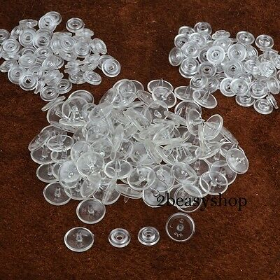 100Set Kam Size 16 Plastic Resin Clear Snaps Fasteners Button Press Stud Poppers