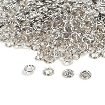 100 Sets 9.5mm Silver Prong Ring Metal Snap Fasteners/Press Studs Dummy Clips AU