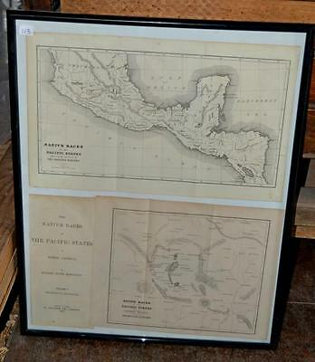 1876 The Native Races Of The Pacific States Framed Maps Lot 113