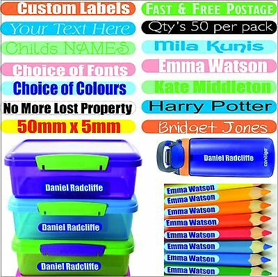 50 Personalized Stick On Name Labels Stickers Tags School Kids Waterproof Custom