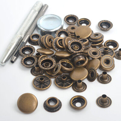 Antique Brass 15 Sets 15mm Press Studs Kit Sewing Leather Buttons Snap Fasteners