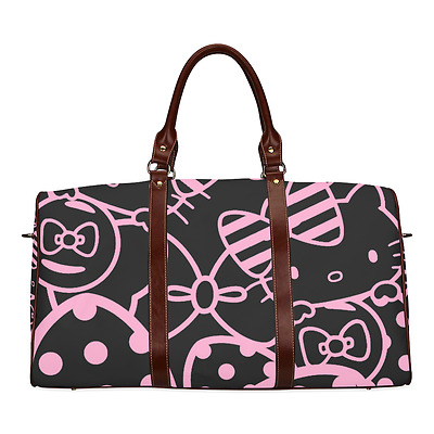 Hello Kitty Cat Pink Bow Black Durable Canvas Travel Duffel Bag Ourdoor