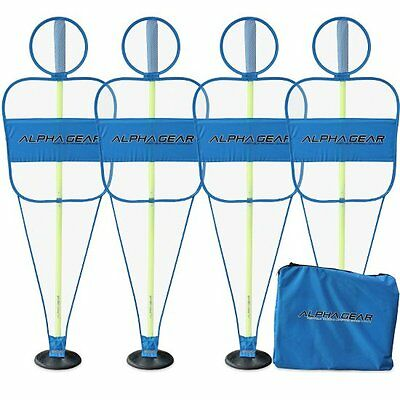 ALPHA Gear 4Pk of Defensive Mannequin Set with 2 Piece Turf Base Poles Blue