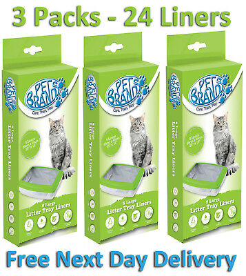 Cat/kitten High Quality Petbrands Large Litter Tray Liners 3 X 8 Pack -24 Liners