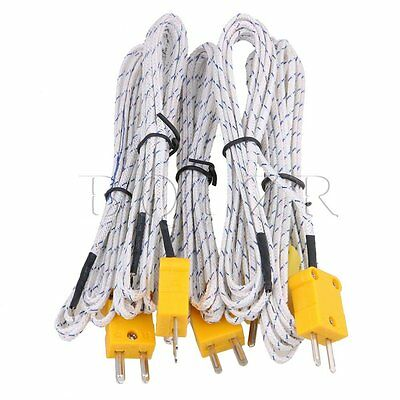 BQLZR 5Pcs 2 Meter Thermocouple K Type Cable Probe Sensors with Connector