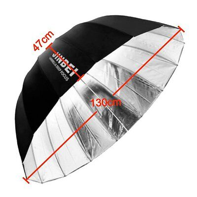 Jinbei Studio Φ130cm 51'' Black & Silver 16 Rods Deep Umbrella fr Flash Lighting