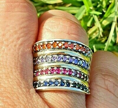 Sterling silver with 9K Gold Ring Size S hallmarked SAME DAY SHIPPING