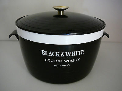 Black & White Buchanan's Scotch Whisky Ice Bucket Art Deco 1960's Welware rare