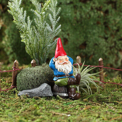 "2.75"" My Fairy Gardens Mini Figure Pick - Rufus the Napping Gnome Figurine Decor"