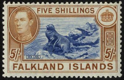 Falkland Is SG 161c/CW 16b 1944 5/- dull deep blue and deep yellow-brown
