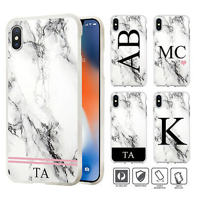 Personalised Initial Marble Cover Case iPhone XS MAX XR X 8 7 SE 6 6S Plus 004
