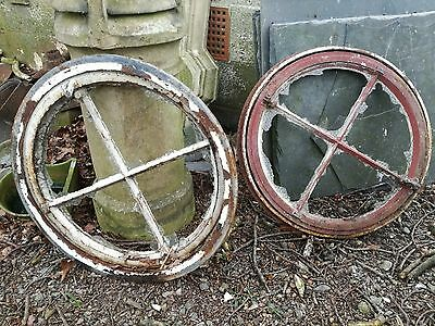 Large Cast Iron bullseye opening windows with frames x2
