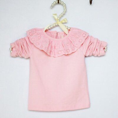 Girl Kid Ruffled Lace Collar Jumpsuit Bodysuit Shirt Baby Bubble Ouffits Lovely