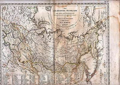 Antique map, steel engraving. RUSSIAN EMPIRE. SIBERIA. RUSSIA IN ASIA. 1845.