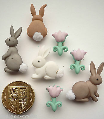 RABBIT COTTON TAILS Plastic Craft Buttons Novelty Easter Wild Pets Animals Baby
