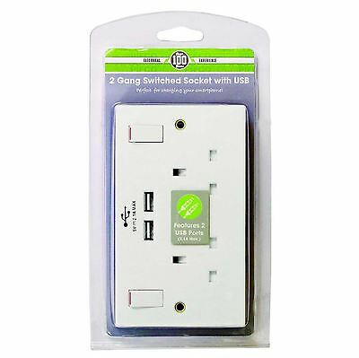 Double Wall Socket with USB Twin fast Charger Ports 2 Gang Plug Switched Plate