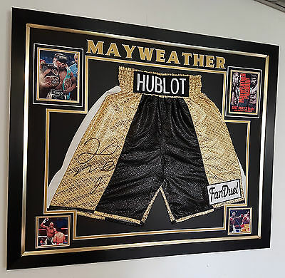 *** RARE FLOYD MAYWEATHER Signed Shorts Trunks AFTAL DEALER Approved ***