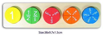 Wooden FRACTION Puzzle Educational Early Maths FUN FACTORY Free Shipping 3yrs+