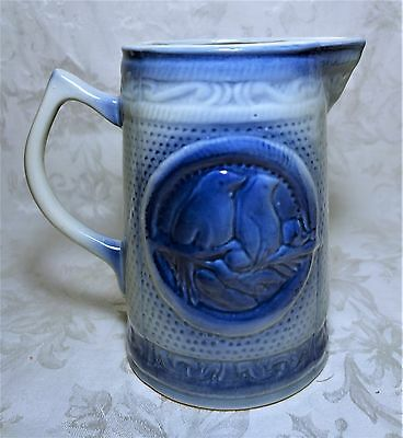 Vintage Blue White Salt Glaze Stoneware Pitcher Two Birds on Branch Pattern 8.5""