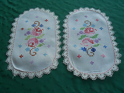 2 White Linen Hand Embroidered Doilies With Lace Trim, Vintage 1930