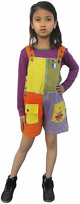 Multicolored Patchwork Kids Stonewashed Cotton Jumpsuit Girls Dungarees Rompers