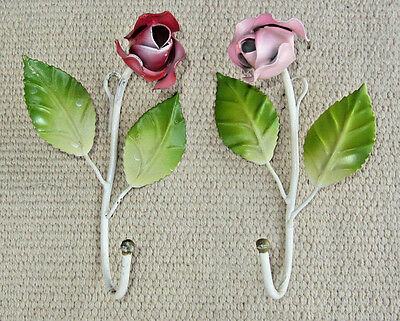 2 Vintage Italian Italy Metal Tole ware ROSES Wall Hook Hanger PINK RED Green