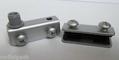 Pair Glass Door Pivot Hinges Cabinets Brushed Alu Including 1 handle (FF199)