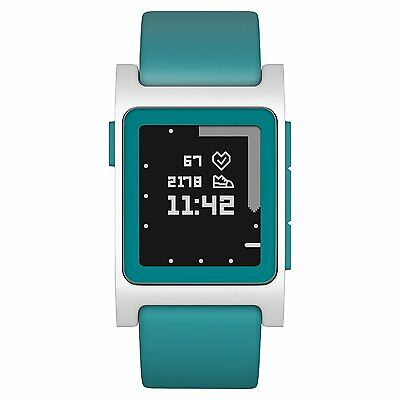 Pebble 2 Smart Watch for iPhone & Android, Aqua & White, Heart Rate Monitor