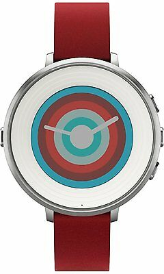 Pebble Time Round Smart Watch for iPhone & Android, Silver, Red Leather Strap