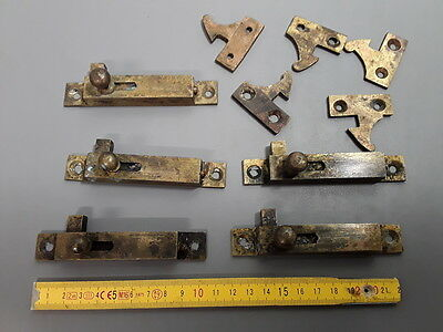 Lot 5 anciens loquets de porte laiton meuble armoire french antique door locks