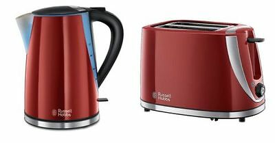 Russell Hobbs Mode Twin Pack Kettle & 2 Slice Toaster Red Kitchen Set Brand New
